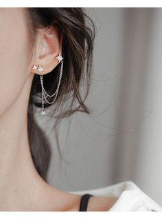 One Ear Cuff per Order Approximate Length of Earring: 4 cm or inch Metal Material: Zinc Alloy Ear Jewelry, Cute Jewelry, Stylish Jewelry, Jewelry Case, Pretty Ear Piercings, Ear Piercings Chart, Ear Cuff Piercing, Star Earrings, Cuff Earrings With Chain