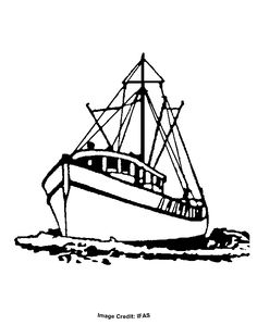 Fishing Boat - Free Coloring Pages for Kids - Printable Colouring Best Drawing For Kids, Art Drawings For Kids, Boat Silhouette, Silhouette Clip Art, Boat Drawing, Ship Drawing, Beach Clipart, Drawn Fish, Shrimp Boat