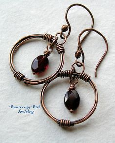 Copper Hoop Earrings with Faceted Red Garnets
