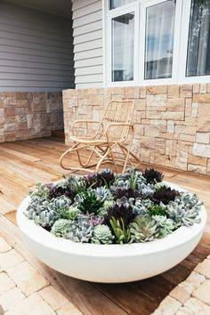 30 simple but beautiful front yard landscaping ideas 1 - All About Garden Succulent Landscaping, Front Yard Landscaping, Succulents Garden, Garden Pots, Landscaping Ideas, Country Landscaping, Huge Succulents, Mulch Landscaping, Outdoor Pots