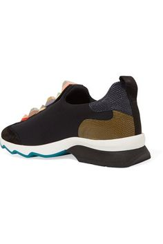 Fendi - Embellished Suede And Lizard-effect Leather-trimmed Neoprene Sneakers - Black - IT37.5
