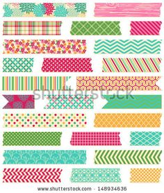 Vector Collection of Cute Patterned Washi Tape Strips by PinkPueblo, via Shutterstock