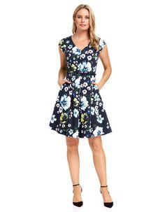 Sarah V Neck Fit & Flare Dress