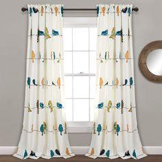 "Lush Decor Rowley Birds Curtains Room Darkening Window Panel Set for Living, Dining, Bedroom (Pair), 84"" L, Multi"