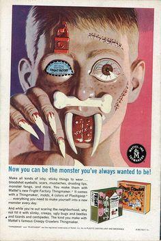 cryptofwrestling:    Ad for Thingmaker kits Fright Factory, & Creepy Crawlers (1968)    radical