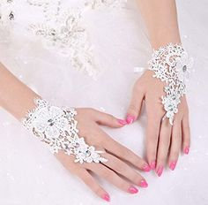 The Bride Marriage Dress Lace Rhinestone Short Glof Wedding Gloves Mitten White *** Want to know more, click on the image.