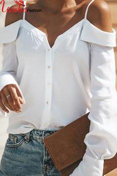Sexy Off Shoulder Pure Color Long Sleeve Chiffon Strap Shirt – streettide Women Button Down Shirt, Look Fashion, Fashion Outfits, Fashion Blouses, Trendy Fashion, Fashion Trends, Off Shoulder Shirt, Cold Shoulder, Shoulder Sleeve