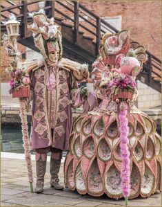 Elegant colors and elaborate detail make these costumes a real standout ~ Carnaval of Venise 2016