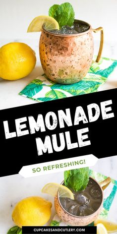This refreshing Lemonade Moscow Mule is full of lemon flavor and super easy to make! With vodka and ginger beer, this easy cocktail recipe can be made in under 5 minutes! Classic Vodka Cocktails, Vodka Drinks, Easy Cocktails, Yummy Drinks, Cocktail Recipes, Yummy Food, Ginger Lemonade, Lemonade Cocktail, Lemon Vodka