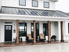 Modern Farmhouse Porch, Farmhouse Style, Modern Porch, Metal Roofs Farmhouse, Farmhouse Addition, Farmhouse Front Porches, Modern Farmhouse Design, Farmhouse Windows, Urban Farmhouse