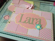 Caderno de mensagens/álbum feito para a Lara com retalhos do chá de bebê!!!