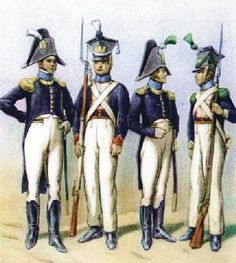 The National Guard in From left: officer of Fusiliers, Fusilier, an officer of Voltigeurs, Voltigeur. Poland History, French History, French Empire, French Army, Arm Armor, French Revolution, Napoleonic Wars, National Guard, Warfare