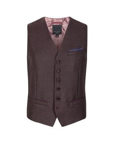 Wool check vest - Dark Red | New Arrivals | Ted Baker