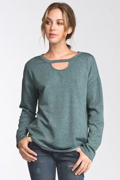 Teal, relaxed fit, long sleeve top with key drop neckline.
