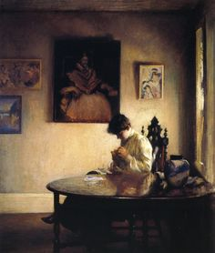 Edmund C. Tarbell (American 1862–1938) [Impressionism, Portrait, The Ten] A Girl Crocheting (1904) Canajoharie Library and Art Gallery, NY. – The Athenaeum