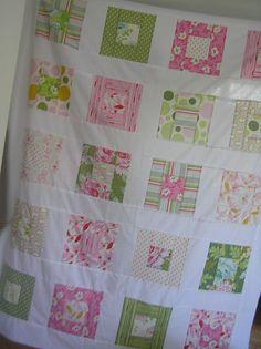 squares quilt + white sashin