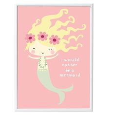 A Little Lovely Company Mermaid Poster : A lovely poster with a mermaid on a pink background with the text 'I would rather be a mermaid'. So cute for any nursery or girl's room!  The poster is 50 x 70 cm and is printed on high quality paper. Looks beautiful in a frame or with coloured tape on the wall.
