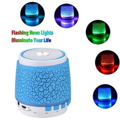 Bluetooth Speakers Vanten Mini Portable Stereo Glow in the Dark Sparkle Neon Flashlight LED with Built-in Mic Hands-free, FM Radio,TF Card Slot, AUX for iPhone / iPad / Samsung and More * Visit the image link more details. (This is an affiliate link and I receive a commission for the sales)