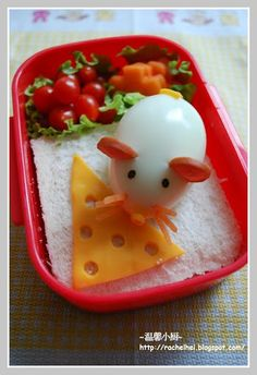 Hard Boiled Mouse & Cheese Bento Lunch...so cute!