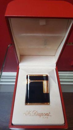 S.T.DUPONT LIGHTER SOUBRENY 18K GOLD AND LACQUERdeCHINE~BLACK~ ULTRA~MEGA~RARE~~BNIB!!!