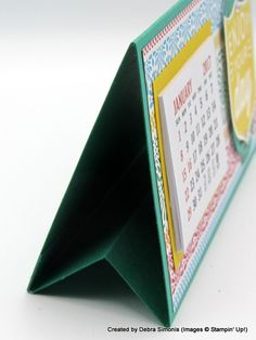 This desktop calendar  measures 5-1/2″ X 3″ when completed.  It will fit in a regular Stampin' Up! envelope so it is easy to send the calendar as a birthday or Christmas card. Pho…