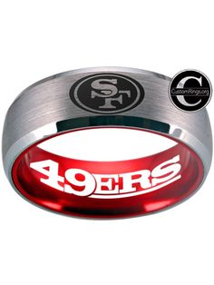 0aab232aa917a5 San Francisco 49ers Ring Silver and Red Ring 8mm tungsten ring, sizes 6 -  13 · Sf NinersRing ...