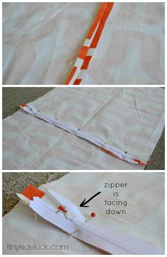 easy zippered pillow cover tutorial
