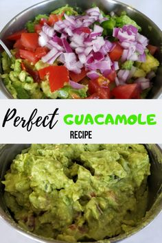 Guacamole Recipe Discover Perfect Guacamole Recipe - Mother of Everything Perfectly ripe avocados combined with fresh ingredients and just the right blend of seasonings is what makes this the perfect guacamole recipe. Authentic Guacamole Recipe, Best Guacamole Recipe, Homemade Guacamole, Mexican Guacamole Recipe, How To Make Guacamole, Chunky Guacamole Recipe, Clean Eating Snacks, Healthy Snacks, Healthy Eating