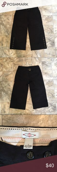 SITWELL ANTHROPOLOGIE black culottes SITWELL ANTHROPOLOGIE black chino culottes pants | 2 button front closure | 6 button detail on sides of bottoms near hem | buckle on back to adjust size | only worn once, like new! | size 0 Anthropologie Pants Capris