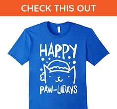Mens happy cats  cute kitten big cats lady claw lover t-shirts Large Royal Blue - Animal shirts (*Amazon Partner-Link)