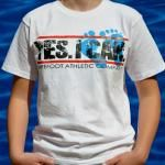"Youth ""Yes I Can"" 100% organic cotton t-shirt in crisp white with bold red and black design with our signature footprints in vibrant blue! At www.BarefootAC.com."