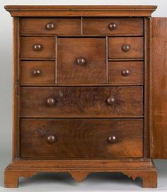 Chester County, Pennsylvania Chippendale walnut spice box, ca. 1765.  Interior view of 9 drawers.:
