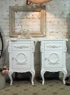 Painted Cottage Shabby White Pair of  Romantic by paintedcottages, $530.00