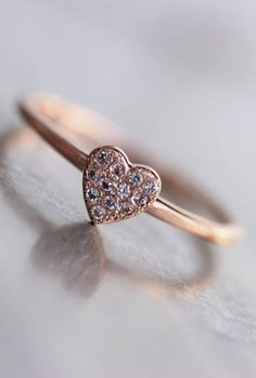 Tiny Sparkly Rose Gold Heart Ring White Topaz Romantic Pink - Heart Spark