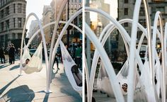 'Flatiron Sky-Line', the first large public installation from New York-based architects studio LOT, has opened in Flatiron Plaza. The structure is made of colliding arches, which are studded with LED lights and hung with hammocks. Now opened, the insta...