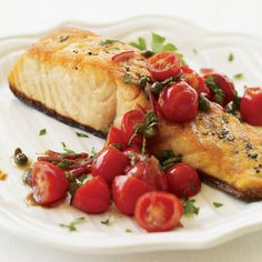 Pan-Roasted Salmon with Tomato Vinaigrette Recipe - Ted Allen | Food & Wine