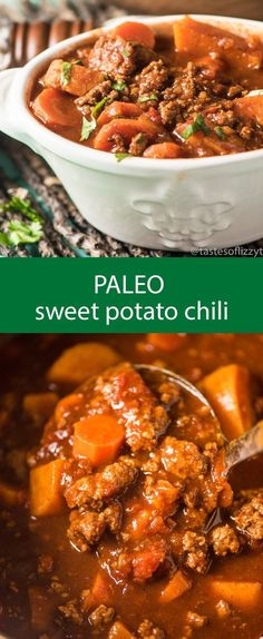 Paleo - paleo sweet potato chili / chili recipe / spicy chili / slow cooker chili / healthy chili / gluten free / grain free / sugar free via Tastes of Lizzy T - It's The Best Selling Book For Getting Started With Paleo Crock Pot Recipes, Spicy Recipes, Chili Recipes, Soup Recipes, Cooking Recipes, Healthy Recipes, Crockpot Meals, Dinner Crockpot, Cooking Games