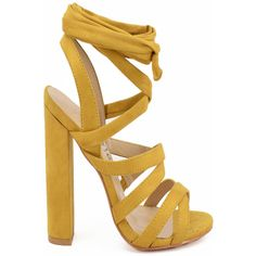 Mustard suede material laces chunky open toe high heels ($34) ❤ liked on Polyvore featuring shoes, pumps, mustard, mustard suede pumps, mustard yellow pumps, chunky-heel pumps, mustard pumps and mustard yellow shoes