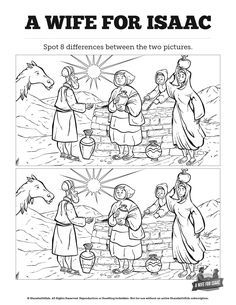 Genesis 24 Isaac and Rebekah Spot The Difference: Can your kids spot all the differences between these two Isaac and Rebekah illustrations? With the kind of playful fun your kids love, this Isaac and Rebekah activity is perfect for your upcoming Genesis 24 Sunday school lesson.