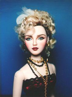 Madonna portrait repaint on a Gene doll by Ellen Harris