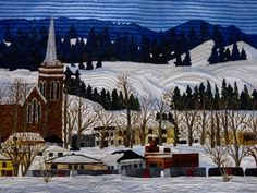 """""""Ice Fishing Village"""" by Les Amies du Quilt - detail 2"""