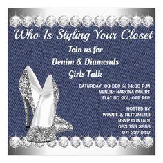 Denim and diamonds birthday party invitations denim diamonds denim and diamonds birthday party invitation stopboris Gallery