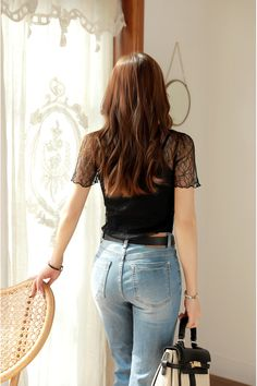 Korean Women`s Fashion Shopping Mall, Styleonme. Fashion Pants, Girl Fashion, Fashion Outfits, Girls Jeans, Mom Jeans, Perfect Jeans, Foto Pose, Sexy Jeans, Jeans Style