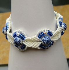 White and Blue Macrame Cuff / Bracelet - £16