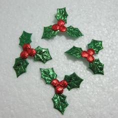 30pcs-Embossed-leaves-Scrapbook-Appliques-craft-Christmas-decoration-A020
