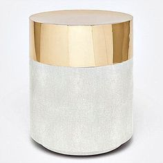 Glam and texture are the hallmarks of the brass and sand, '70s-inspired Maxine Stool from Made Goods. Covered with luxurious faux shagreen and shiny brass, this chic, round seating is the ideal choice for any room in your home or office.