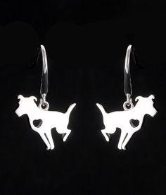 Sitting Pit Bull Heart Earrings