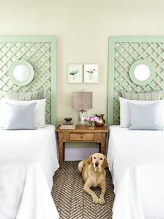 Using 1-by-4-inch boards, construct a frame with desired height and width (ours measures 6 ½ feet tall and extends 1 inch beyond the mattress on each side). Have your hardware store cut a piece of garden lattice to fit within the frame and affix to back with finishing nails. Use a picture hanger to mount a small mirror three quarters of the way up the headboard. Paint assembled piece in desired color.For a tonal effect that adds depth without overpowering the space, choose two similar…