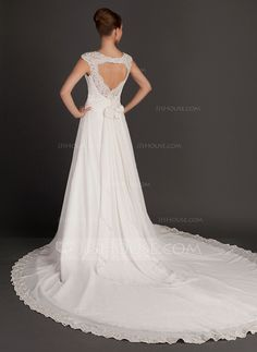 Wedding Dresses - $218.99 - A-Line/Princess Square Neckline Cathedral Train Chiffon Wedding Dress With Ruffle Lace Beading Flower(s) (002015564) http://jjshouse.com/A-Line-Princess-Square-Neckline-Cathedral-Train-Chiffon-Wedding-Dress-With-Ruffle-Lace-Beading-Flower-S-002015564-g15564?ver=n1ug2t&ves=vnlx6