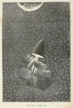 Arguably the very first images to depict space travel on a scientific basis, these wonderful illustrations are the work of the French illustrator Émile-Antoine Bayard.